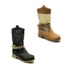 WOMENS CASUAL PULL ON COWBOY BUCKLE ANKLE BOOTS BOOTIES LADIES SHOES SIZE 3-8