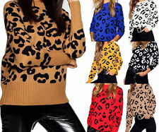 Ladies Womens Leopard Print Long Sleeve Jumper Knitted Pullover Sweater Top 8-22