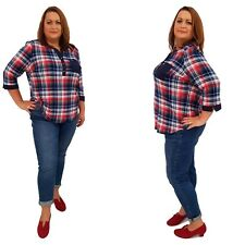 Wolfairy Womens Plus Size Top Blouse Lagenlook Checkered Autumn Kaftan