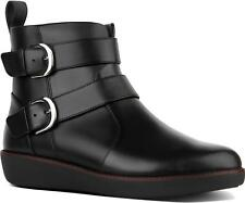 FitFlop™ LAILA DOUBLE BUCKLE Ladies Pull On Stylish Leather Ankle Boots Black