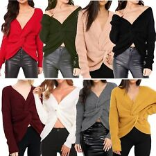 Ladies Knitted Twist Knot Slouch laggy Jumper Front Back Wrapover Jumper Sweater