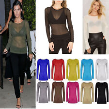 Ladies Women's Long Sleeve Sheer Mesh SEE THROUGH Plain Top T-Shirt Size UK 8-22