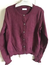 BNWOT Next Cardigan. Girls. Burgandy. Age 3 - 10 Years. Soft. Ruffle Cuff