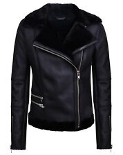 Women's Short Black Merino Shearling Sheepskin Aviator Leather Biker Jacket