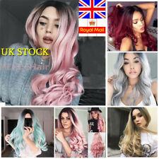 UK Women Fashion Full Hair Wigs Natural Long Curly Wavy Ombre Wig Cosplay Party