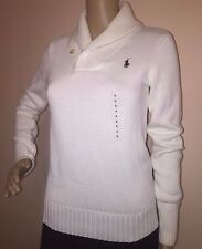 NWT   Ralph Lauren   Blue Label   Cotton Sweater Cream Shawl Neck Pullover Polo