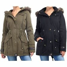 Ladies Branded Designer Parka Fishtail Faux Fur Lined Hooded Military Coat 8-24