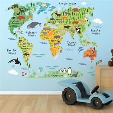 World Map Wall Decals Cartoon Animals Wall Stickers DIY Mural Art Poster Sticker