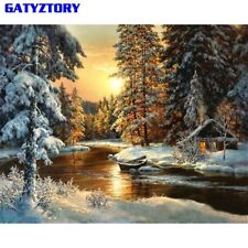 Village Snow DIY Painting Canvas Home Wall Art Picture Coloring Paintings Sale