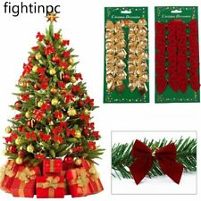 12Pcs New Year Christmas Tree Decoration Bowknots Baubles Bow Party Ornaments