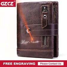 GZCZ Mens Wallet Leather Genuine Short Male Purse Zipper Poucht Clamp For Money