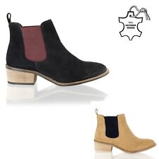 New Womens Chelsea Ankle Boots Real Leather Slip On Block Heel Pull On Shoe Size