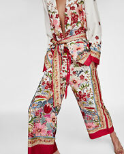Zara SS18 Floral Print Culottes Cropped Wide Flare Trousers Pink Red White XS