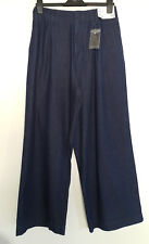Uniqlo SS18 Extra Wide Leg High Waist Flare Denim Trousers Jeans Dark Blue W 29