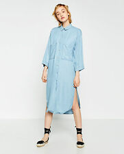 ZARA Denim Tokyo Collection Striped Long Oversize Shirt Dress Blue White XS S