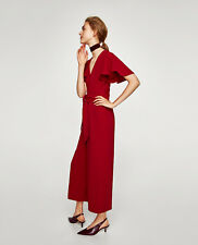 ZARA Dark Red Long Flowing Cropped Culotte Jumpsuit With Bow Ruffled Sleeves M