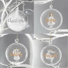 PERSONALISED Engraved Luxury Glass Christmas Tree Baubles Name Tree Decorations