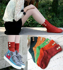 Unique Roll Top Boot Socks with Wooden Buttons Ankle Cable Knit Cotton Mix