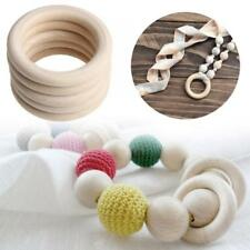 5/20pcs Unfinished Wooden Round Rings DIY Necklace Jewellery Crafts-Decor