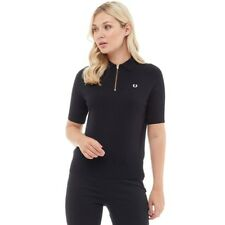 Fred Perry Womens Zip Neck Knitted Shirt Black 6,8,10 UK