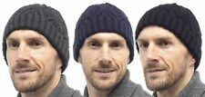 MENS CHUNKY CABLE KNIT BEANIE HAT WINTER WARM COZY BY TOM FRANKS ONE SIZE