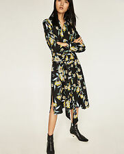 ZARA Floral Printed Long Belted Tunic Shirt Dress Black Yellow S Small BNWT