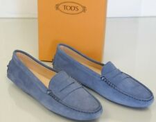 Nuovo TOD'S Tods Basse Mocassini Penny Driving Blu Navy Scarpe Camoscio 40