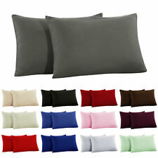 2 x Pillow Cases Luxury Housewife Pillow Covers Percale Super Soft Pillowcases