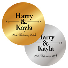 PERSONALISED WEDDING FAVOURS STICKERS METALLIC GOLD SILVER LABELS NAMES DATES