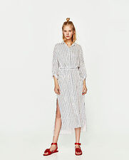 ZARA JOIN LIFE 2017 Striped Long Flowing Lyocell Belted Dress White Blue XS S M