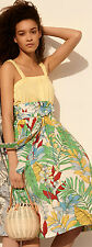 Zara Leaf Print Tropical High Waist Wide Belt Midi Skirt Calf Length XS S M L
