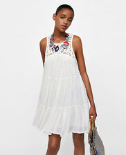 ZARA SS18 Flowing Dotted Mesh Swing Dress With Crochet Bib Front Fringing M