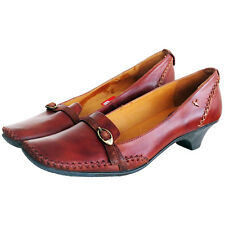 RRP £89 PIKOLINOS WOMENS COURT SHOES SLIP ON HEELS TAN FARBE LEATHER CUERO UK 7