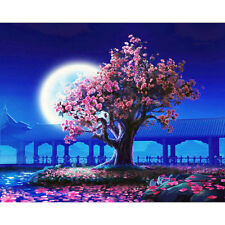Hand Painted Canvas Oil Painting DIY Landscape Moon Tree Wall Art Decor UnFramed