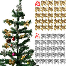 48X Christmas Tree Bow Decoration Baubles XMAS Party Garden Bows Ornament