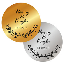 PERSONALISED WEDDING FAVOURS STICKERS METALLIC GOLD SILVER LABELS NAMES