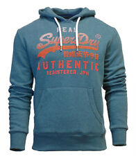 Superdry Mens New Vintage Authentic Fade Overhead Hoodie Teal Marl
