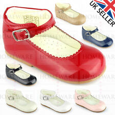 GIRLS BABYS SPANISH STYLE MARY JANE SHOES PATENT RED NAVY PINK CAMEL WHITE NEW