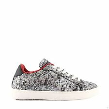 LEATHER CROWN BASSA CALZATURA DONNA SNEAKERS PELLE ARGENTO - 72B6