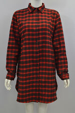 Women's Girl's Long Sleeve Buttons Fastening Collared Plaid Shirt Black Red.