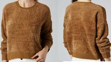 topshop stretchy camel jumper fluffy knit sweater long sleeve top uk size 10-12