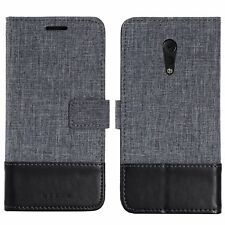 Muxma Canvas PU Leather Wallet Flip Case Cover w/ Magnetic for VIVO Xplay 6