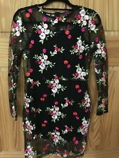 Womens Black Dress Sizes 8 - 14 New Bodycon Short Embroidered Floral Long Sleeve