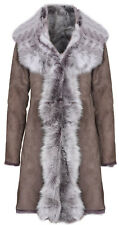 Taupe Ladies Women's Real Toscana Sheepskin Leather Suede Jacket Trench Coat