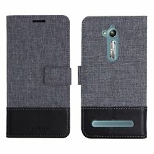 Muxma Canvas PU Leather Wallet Flip Case Cover for ASUS Zenfone Go ZB500KL