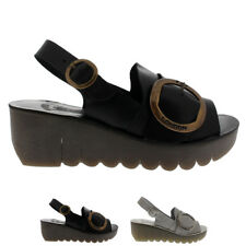 Ladies Fly London Yidi Peep Toe Leather Mid Heel Summer Casual Sandals All Sizes