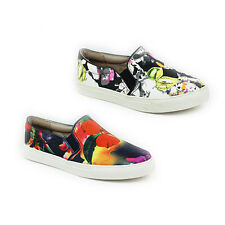 WOMENS FLAT CHUNKY SOLE SLIP ON FLORAL CANVAS PUMPS LADIES SHOES NEW SIZE 3-8