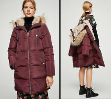 Mango Down Feather Long Quilted Coat Faux Lining Hood Puffer Anorak Maroon S M