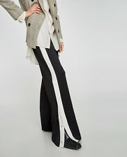 Zara Trousers With Side Stripe Snap Buttons Wide Palazzo Black White S M BNWT