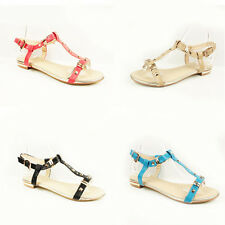 WOMENS SUMMER STRAPPY FLAT T-BAR ANKLE STRAP SANDALS LADIES SHOES NEW SIZE 3-8